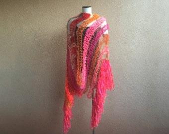 Bright Shawl Scarf Wrap, Neon Fluorescent Shawl, Hot Pink, Orange, Coral, Red, Gold Metallic Shawl Wrap with Fringe