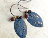 Lara Earrings, Old Stock Vintage Drop Earrings, India Charm, Painted Blue Metal Charm with Beads