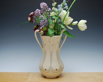 Flower vase w. handles in glossy Ivory w. Dogwood blossoms & Navy detail, Victorian modern Home decor