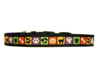 5/8 or 3/4 Inch Wide Dog Collar with Adjustable Buckle or Martingale in Halloween Tiles