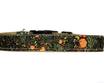 1 Inch Wide Dog Collar with Adjustable Buckle or Martingale in Cornucopia
