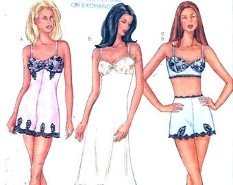 Teddy tap pants slip  bra top lingerie sewing pattern Butterick 3264 Size 6 to 10