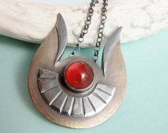 OOAK Necklace Carnelian Necklace Hathor Necklace Egyptian Goddess Necklace Mixed Metal Necklace Metalsmith Bronze Necklace Artisan Jewelry