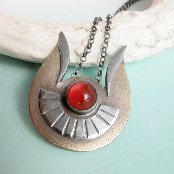 Carnelian Necklace, OOAK Goddess Hathor Necklace, Egyptian Necklace, Mixed Metal Statement Necklace, Metalsmith Jewelry, Artisan Jewelry