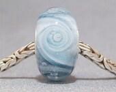 Glow in the Dark Blue & White Handmade Lampwork Glass Bead Slate Blue Cyclone