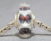 Butterfly Bead Handmade Lampwork Euro Charm Limited Edition Red & Blue Butterflies