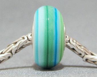 Blue & Green Handmade Stripe Lampwork Glass Bead Euro Bracelet Charm Bali Beach