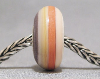 SMALL CORE Only Organic Brown & Ivory Handmade Lampwork Bead Glass Big Hole Bead Wild West II