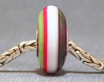 Red, White & Green Handmade Stripe Lampwork Glass Bead Euro Charm Christmas Ribbons II