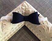 Large Felt Bow Headband // Navy and White Headband // Felt // Navy Bow // White Glitter // Baby Headband // Wool Felt // Nautical
