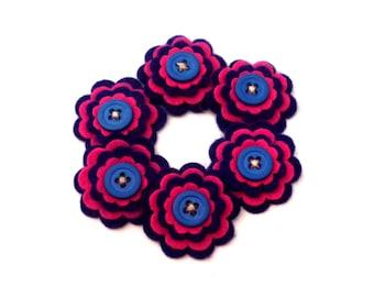 Hot Pink and Navy Blue Felt Flowers, Floral Embellishment, Card Making Supply, Scrapbook Embellishment, Headband Decoration