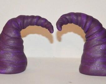 Purple Twist Horns Polymer Clay Festival, Halloween, Troll, Devil, Ren Fair