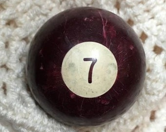 NINE 9 VINTAGE Billiard Ball Pool Ball   purple  white old  kitsch home decor standard size