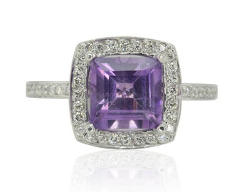 Amethyst Ring, Halo Engagement Ring with Princess cut Amethyst and Diamonds in 14k White Gold - February Birthstone Ring - LS1722