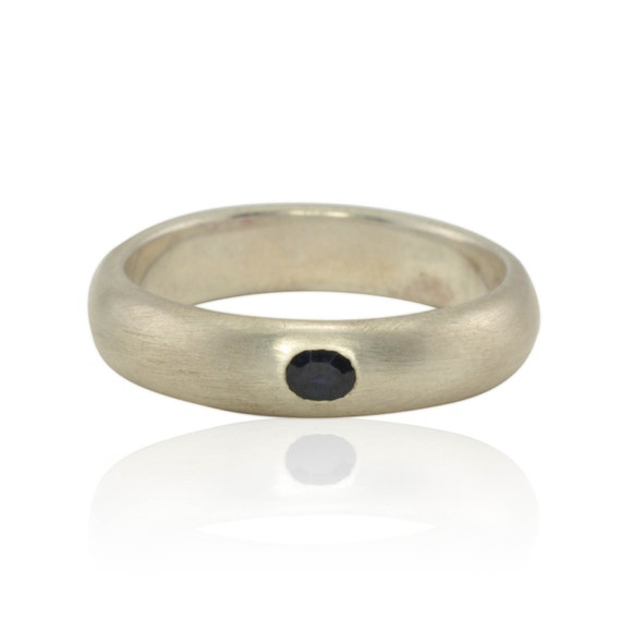 Men's Wedding Band, Man's Sapphire Wedding Ring - Bezel set - other stones and finishes available - LS452