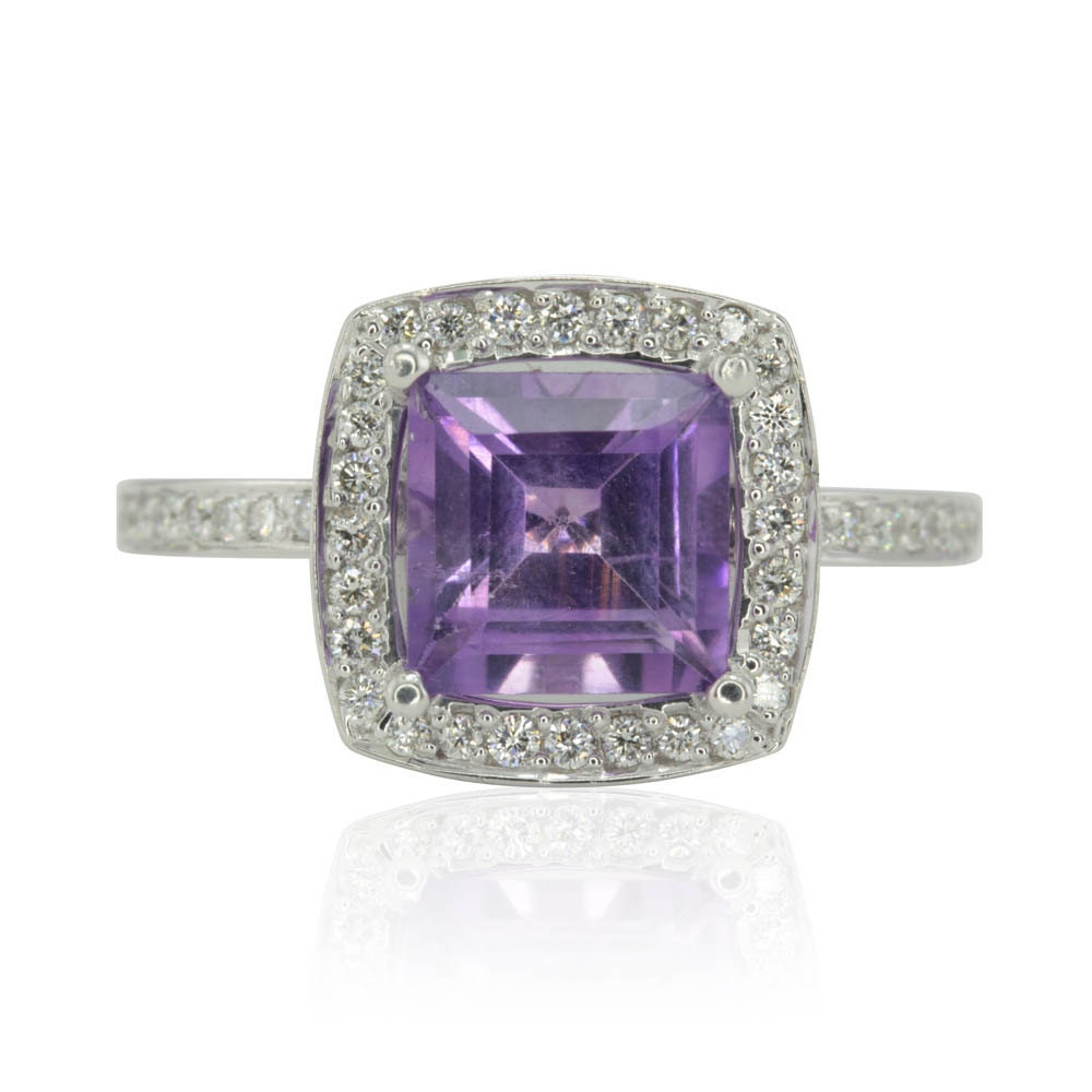 amethyst ring halo engagement ring with princess cut amethyst
