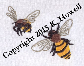 Bee Hand Embroidery Pattern, Bees, Honey Bee, Bumble Bee, PDF