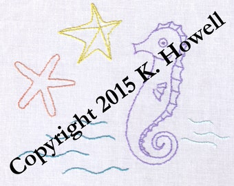 Sea Creatures Hand Embroidery Pattern, Seahorse, Starfish, PDF