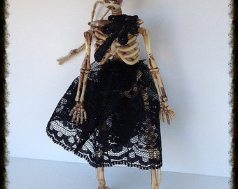 Halloween Decoration Creepy Skeleton in Black Lace Halloween Decoration Halloween Ornament Halloween Party