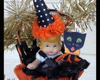 Halloween Decoration  Halloween Doll in a Halloween Nut Cup Halloween Ornament for Halloween party