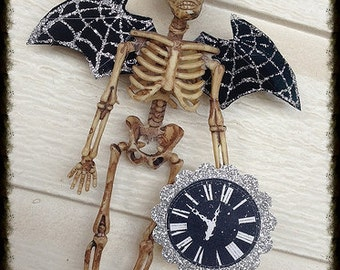 Creepy Halloween Decoration Skeleton Bat Gentleman for Halloween Party or Day of the Dead Halloween Ornament