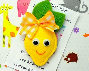Felt Lemon Hair clip or hair tie, smily lemon hair Bobble,Hair elastics Ponytail holders, Lemon pigtails