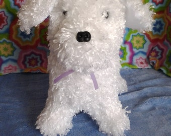 Bichon Puppy Dog Stuffed Animal purple ribbon TOY for you to play with, Bichon Frize Puppy Stuffed Animal Toy