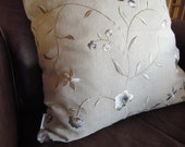 Shannon Embroidered Linen Pillow Cover, Decorative Throw Pillow, 18x18, Floral, Sofa, Cushion Cover, Muted Colours