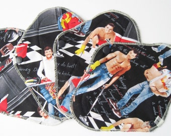 Mama Cloth / Cloth Pads / Pantyliners 8 inch - Set of 4 Hunky Men doing Chores FREE Shipping