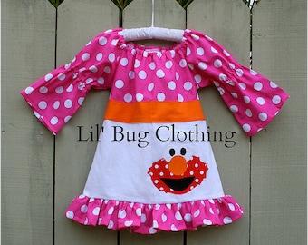 Custom Boutique Clothing Elmo Sesame Street Fall Peasant Dress Birthday Girl