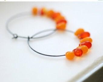 Sterling Silver Hoops, Hoop Earrings, Tangerine and Orange Glass Teardrops, Oxidized Silver