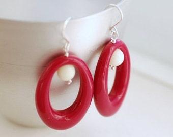 Oval Hoop Earrings, Retro Earrings, Magenta Earrings, Vintage Lucite Oval Hoops and Sterling Silver