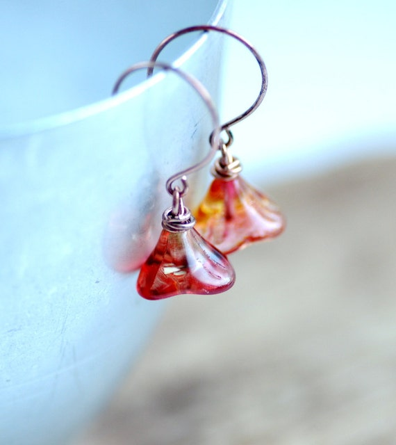 Sunset Orange Earrings, Coral Earrings, Flower Earrings, Nature Jewelry, Copper Earrings, Garden Wedding - Posies