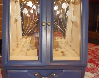 Dark Blue  Painted jewelry box Shabby Chic Jewelry Armoire 2 necklace carousels ring holders upcycled wood jewelry cabinet