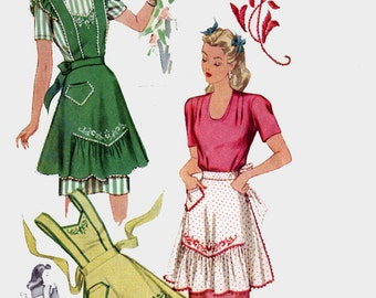 1940s Misses' Ruffled and Embroidered Aprons H Back Strap Pinafore Bib or Half Apron McCall 1124 40s Vintage Sewing Pattern Size Med 14-16
