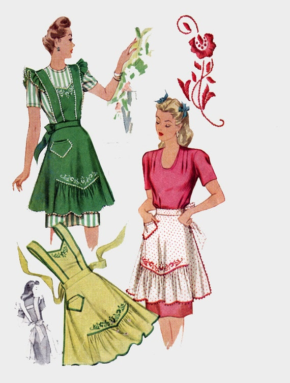 Vintage 1940s Misses' Ruffled and Embroidered Aprons H