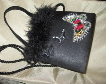 Butterflies and Boa-Trimmed Black Purse