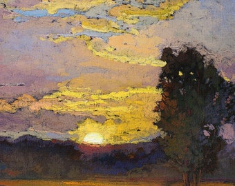 "Mission Arts and Crafts CRAFTSMAN - Matted Giclee Fine Art Print ""Late In August"" Sunset 11x14 by Jan Schmuckal"