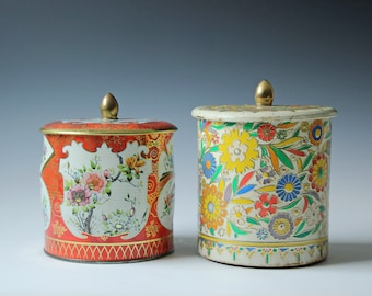 Set of 2 vintage decorative floral tins