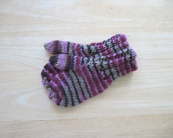 Childs Wool Mittens Small Hand Knit Rosewood