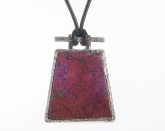 Brick Red Cuprite Stone Pendant for Men, sterling silver with leather cord, mens jewelry