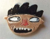 Freckles - ceramic, clay, glazed coat pin brooch, fun whimsical gift