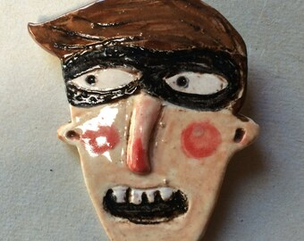 Super Dad - clay, ceramic glazed coat or jacket pin, funny gift, brooch by Murphy Adams