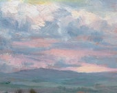 Original miniature oil painting -- CLOUD DRAMA -- unframed, 5x3.5 inch sunset landscape, by Diana Moses Botkin