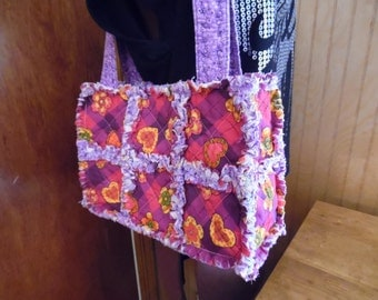 Purple flowers and hearts rag quilt handbag tote