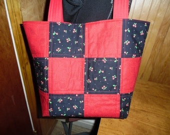 Black and red cherries handbag tote