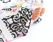 Patchwork Baby Blanket OOAK Patchwork Lovie Chatterbox with Minky for Baby Girl