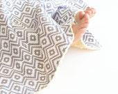 Unisex Baby Blanket - Grey and White Aztec Fiesta Eduardo Coin with Yellow Minky Lovie, Security Blanket with Minky for Baby Boy Baby Girl