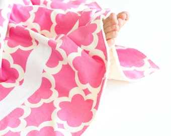 Small Patchwork Blanket for Baby Girl, Tarika Flowers with Vanilla Minky (2)