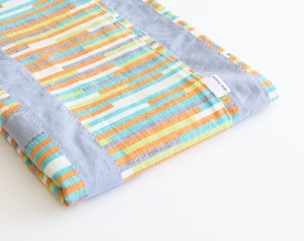 Baby Boy Patchwork Blanket Cascade Stripes (1)